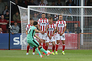 The Cheltenham wall defend a Jack Bridge free kick   during the EFL Sky Bet League 2 match between Cheltenham Town and Carlisle United at Jonny Rocks Stadium, Cheltenham, England on 20 August 2019.