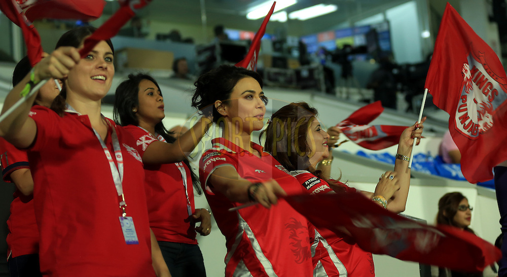 Preity Zinta Owner of Kings XI Punjab during match 9 of the Pepsi Indian Premier League 2014 between the The Kings XI Punjab and the Sunrisers Hyderabad held at the Sharjah Cricket Stadium, Sharjah, United Arab Emirates on the 22nd April 2014<br /> <br /> Photo by Sandeep Shetty / IPL / SPORTZPICS