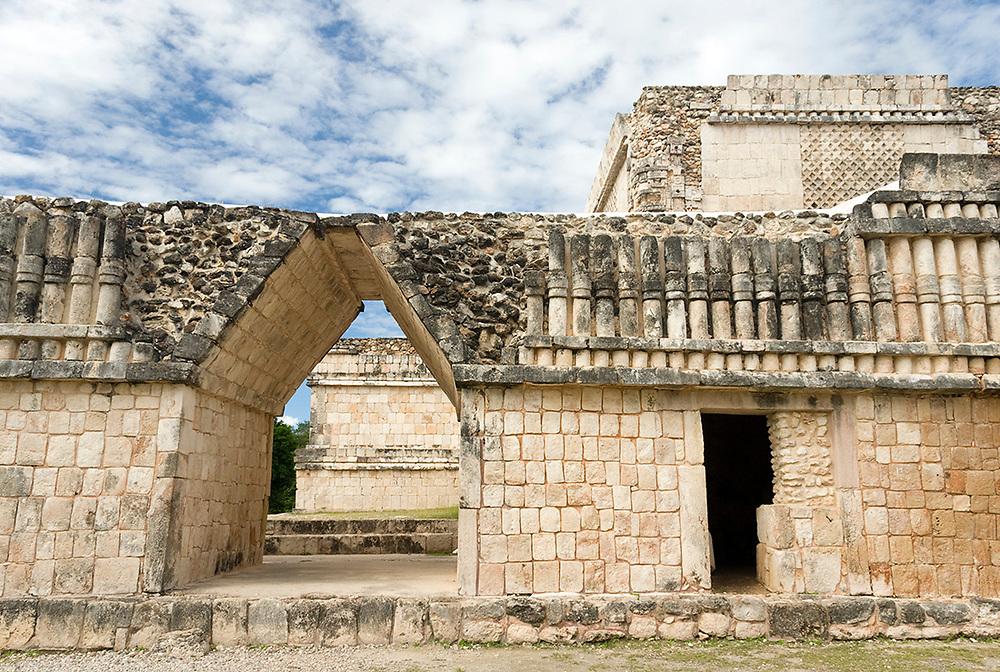 Triangular Door and Columnade Puuc Design Detail, Quadrangle of the Birds, Uxmal Maya Ruins, Yucatan Peninsula, Mexico 2007 NR