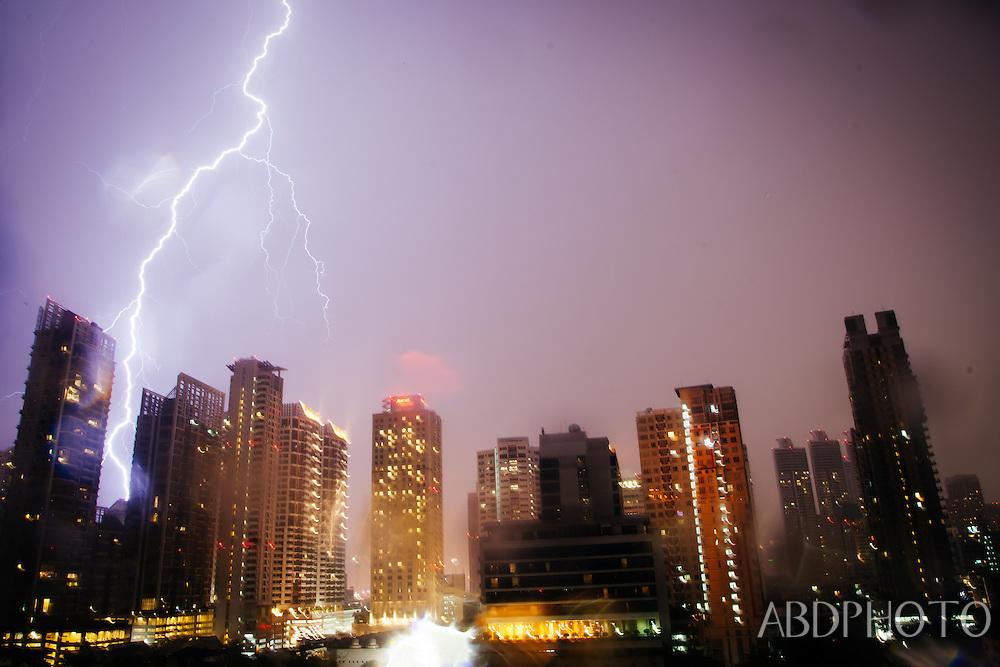 Lightning Storm, Skyline, Bangkok, Thailand