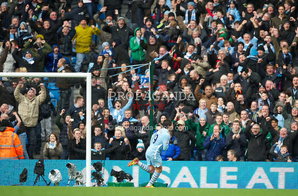MANCHESTER, ENGLAND - Sunday, January 22, 2011: Manchester City's Samir Nasri celebrates scoring the first goal against Tottenham Hotspur during the Premiership match at the City of Manchester Stadium. (Pic by David Rawcliffe/Propaganda)