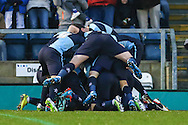 Paris Cowan-Hall of Wycombe Wanderers celebrates scoring the opening goal against Luton Town during the Sky Bet League 2 match at Adams Park, High Wycombe<br /> Picture by David Horn/Focus Images Ltd +44 7545 970036<br /> 26/12/2014