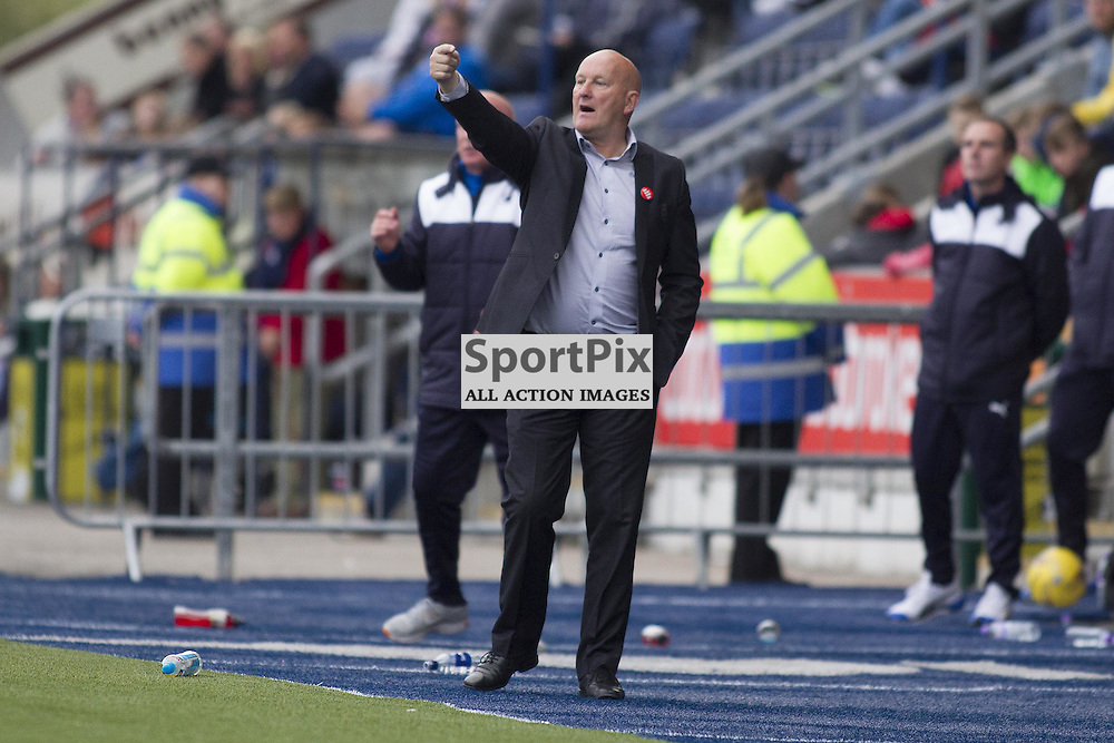 Morton manager Jim Duffy during the Ladbrokes Scottish Championship match between Falkirk FC and Greenock Morton FC at Falkirk Stadium on October 17, 2015 in Falkirk, Scotland. Photo by Jonathan Faulds/SportPix