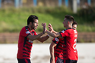 Dundee&rsquo;s Cammy Kerr congraulates Dundee&rsquo;s Sofien Moussa on his hat-trick - Cowdenbeath v Dundee in the Betfred Cup at Central Park, Cowdenbeath - Picture by David Young<br /> <br />  - &copy; David Young - www.davidyoungphoto.co.uk - email: davidyoungphoto@gmail.com