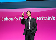 © Licensed to London News Pictures. 22/09/2014. Manchester, UK. Ed Miliband thanks party members for their support in the Scottish Referendum. Labour Party Conference 2014 at the Manchester Convention Centre today 22 September 2014. Photo credit : Stephen Simpson/LNP