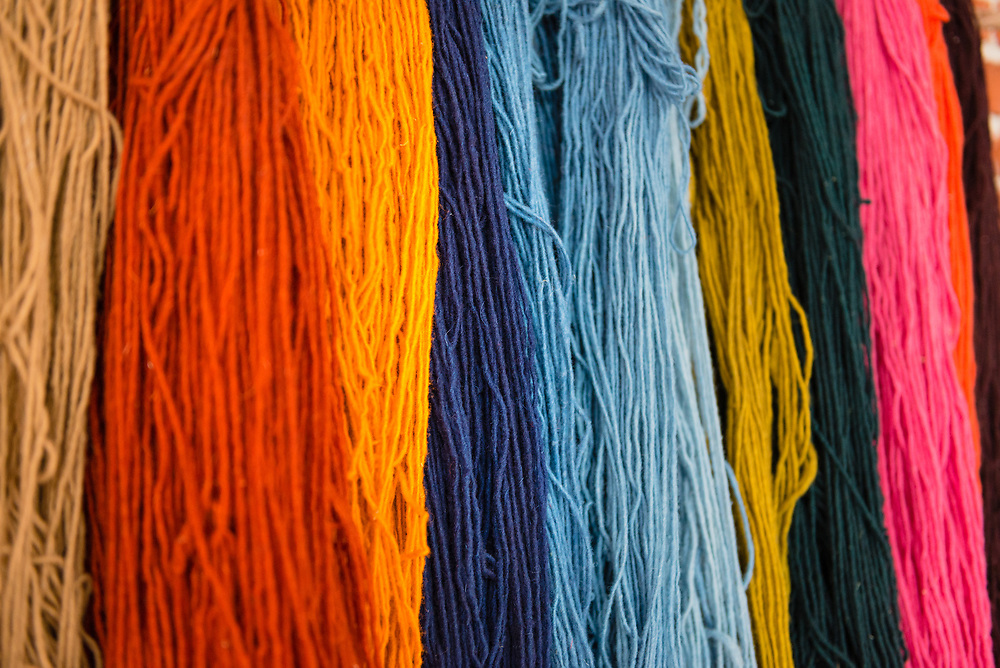 Naturally dyed fabrics for use in traditional Mexican weaving