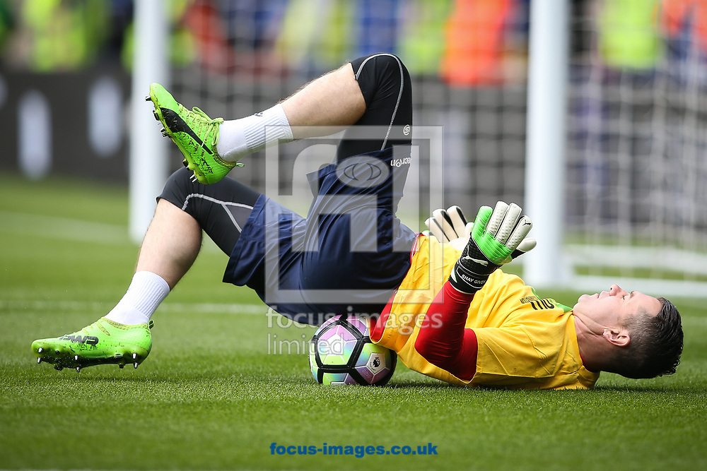 Shay Given of Stoke City warms up in a `Kick It Out' T-shirt during the Premier League match at the King Power Stadium, Leicester<br /> Picture by Andy Kearns/Focus Images Ltd 0781 864 4264<br /> 01/04/2017