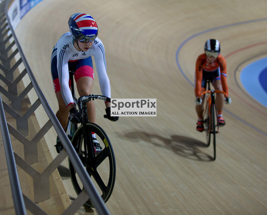 Danielle Khan of Team GB in the Women's sprint at the Revoultion Series 2015/6 Round 1 Derby, Day 2, on 15 August 2015 ( (Photo by Mike Poole - Photopoole)