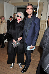 BETTY JACKSON and her son OLIVER JACKSON-COHEN at the Vogue Festival 2012 in association with Vertu held at the Royal Geographical Society, London on 20th April 2012.