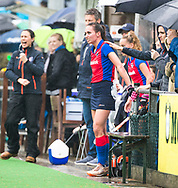 BILTHOVEN  - Hockey -  1e wedstrijd Play Offs dames. SCHC-Den Bosch (0-1). blessure bij Ginella Zerbo (SCHC) .  COPYRIGHT KOEN SUYK