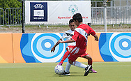 Male's football match 5-a-side between SO Peru and SO Singapore during 2011 Special Olympics World Summer Games Athens on June 26, 2011..The idea of Special Olympics is that, with appropriate motivation and guidance, each person with intellectual disabilities can train, enjoy and benefit from participation in individual and team competitions...Greece, Athens, June 26, 2011...Picture also available in RAW (NEF) or TIFF format on special request...For editorial use only. Any commercial or promotional use requires permission...Mandatory credit: Photo by © Adam Nurkiewicz / Mediasport