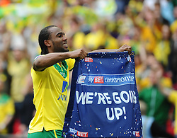 Norwich City's Cameron Jerome celebrates on the final whistle as Norwich City win promotion to the premier league   - Photo mandatory by-line: Joe Meredith/JMP - Mobile: 07966 386802 - 25/05/2015 - SPORT - Football - London - Wembley Stadium - Middlesbrough v Norwich - Sky Bet Championship - Play-Off Final