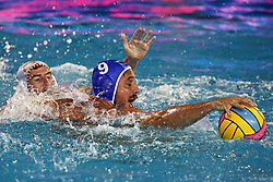 July 24, 2018 - Barcelona, Spain - Konstantinos Mourikis (Greece) during the match between Spain and Greece, corresponding to the women group stage of the European Water Polo Championship, on 19th July, 2018, in Barcelona, Spain. (Credit Image: © Joan Valls/NurPhoto via ZUMA Press)