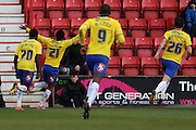 Crawley Town's Gavin Tomlin celebrates his goal during the Sky Bet League 1 match between Swindon Town and Crawley Town at the County Ground, Swindon, England on 21 February 2015. Photo by Shane Healey.