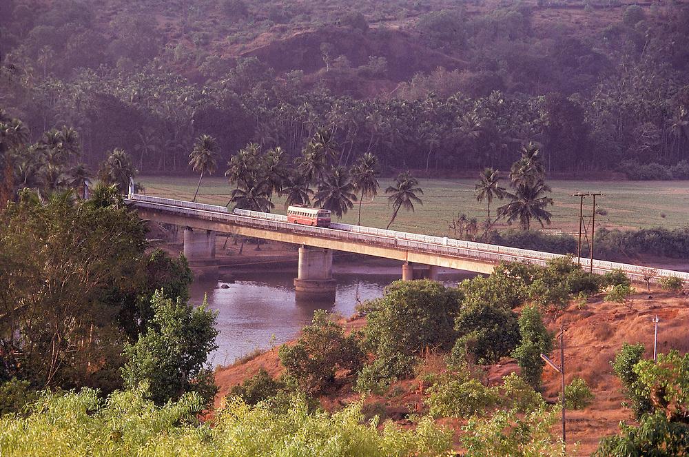 Bridge over river Aghanashini, near Karwar on the western coast of India