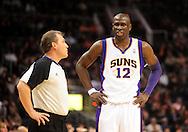 Feb. 2, 2011; Phoenix, AZ, USA; Phoenix Suns guard Mickael Pietrus (12) talks to a NBA official at the US Airways Center. The Suns defeated the Bucks 92-77. Mandatory Credit: Jennifer Stewart-US PRESSWIRE