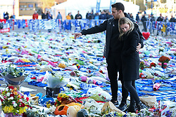 Leicester City player Matty James and wife Leah Richards visit the tributes at Leicester City Football Club. PRESS ASSOCIATION Photo. Picture date: Friday November 2, 2018. Leicester Chairman, Vichai Srivaddhanaprabha, was among those to have tragically lost their lives on Saturday evening when a helicopter carrying him and four other people crashed outside King Power Stadium. See PA story SOCCER Leicester. Photo credit should read: Nigel French/PA Wire