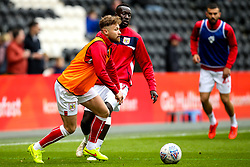 Matty Taylor of Bristol City and Famara Diedhiou of Bristol City warm up - Mandatory by-line: Robbie Stephenson/JMP - 05/05/2019 - FOOTBALL - KCOM Stadium - Hull, England - Hull City v Bristol City - Sky Bet Championship