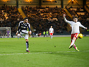 Dundee&rsquo;s Kane Hemmings fires home the opener  - Dundee v Falkirk, William Hill Scottish Cup Fourth Round at Dens Park <br /> <br />  - &copy; David Young - www.davidyoungphoto.co.uk - email: davidyoungphoto@gmail.com