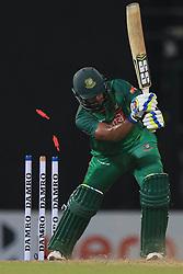 April 6, 2017 - Colombo, Sri Lanka - Bangladesh cricketer Sabbir Rahman gets dismissed by Sri Lankan cricketer Vikum Sanjaya during the 2nd and final T-20 International cricket match between Sri Lanka and Bangladesh at R Premadasa Stadium, Colombo, Sri Lanka, Thursday 6 April 2017  (Credit Image: © Tharaka Basnayaka/NurPhoto via ZUMA Press)