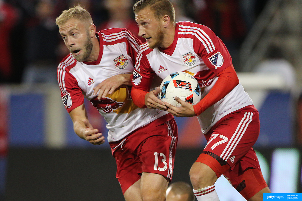 HARRISON, NEW JERSEY- November 06:  Mike Grella #13 of New York Red Bulls and Daniel Royer #77 of New York Red Bulls during the New York Red Bulls Vs Montreal Impact MLS playoff match at Red Bull Arena, Harrison, New Jersey on November 06, 2016 in Harrison, New Jersey. (Photo by Tim Clayton/Corbis via Getty Images)