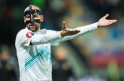 Miso Brecko (SLO) reacts during the UEFA EURO 2016 Play-off for Final Tournament, Second leg between Slovenia and Ukraine, on November 17, 2015 in Stadium Ljudski vrt, Maribor, Slovenia. Photo by Vid Ponikvar / Sportida