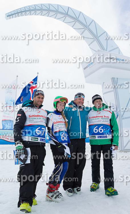27.04.2012, Blaefjoll Mountains, ISL, FIS Alpine Ski WM Schladming 2013, PR Event, Fun Race, im Bild Siegerteam Funrace, v.l.n.r. Philipp Schoerghofer, Elias Hilmasdottir, Mathias Berthold, Toni Ebner // during Fun Race of PR Event of FIS Alpine Ski world championship 2013 Schladming at Blaefjoll Mountains, Iceland on 2012/04/27. EXPA Pictures © 2012, PhotoCredit: EXPA/ Johann Groder