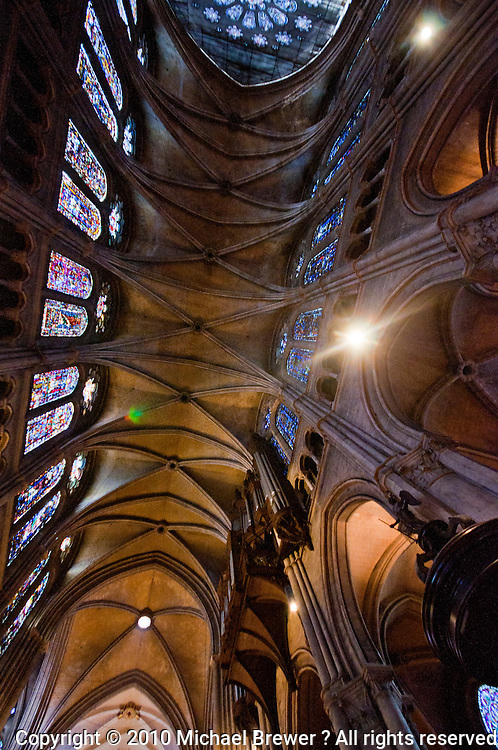 Our Lady of Chartres Cathedral, Chartres, France. Looking up at the magnificent vaulted ceiling  and stained glass windows of the nave.