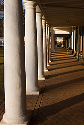 White columns line dorm rooms along the Lawn in front of the Rotunda on the Grounds of the University of Virginia in Charlottesville, VA on February 16, 2008.  Founded in 1819 by Thomas Jefferson, UVA is one of the nation's top universities.