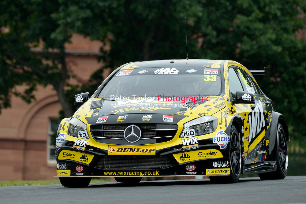 #33 Adam Morgan GBR WIX Racing Mercedes Benz A-Class  during first practice for the BTCC Oulton Park 4th-5th June 2016 at Oulton Park, Little Budworth, Cheshire, United Kingdom. June 04 2016. World Copyright Peter Taylor/PSP.