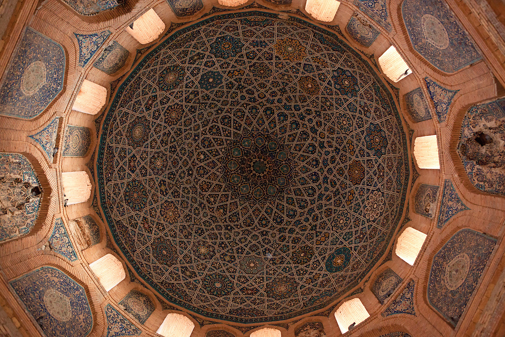 Detailed design work on the inside of the dome of the Turabeg Khayn mausoleum, one of the few surviving buildings of Konye-Urgench, Turkmenistan