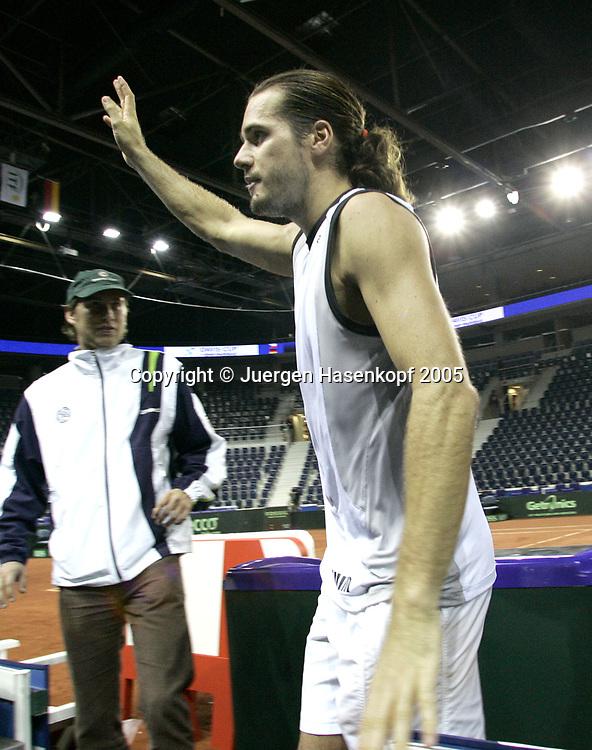 TOMMY HAAS (GER) Davis CUP 2005, Czech Rep.-GER, Liberec<br /> <br /> Tennis - Davis Cup 2005 - ITF Davis Cup -  Arena Tipsport - Liberec -  - Czech Republic - 25 September 2005. <br /> &copy; Juergen Hasenkopf