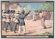 First Franco-Hova War 1883-1886: Execution of Monsieur Greve. War ended with the Treaty of Tamatave, January 1886.  France, Colonisation, Battle, Solar topee, Malagassy, Madagascar, Chromolithograph, Trade Card