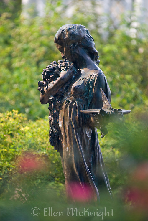 Sculpture in the Cranford Rose Garden at the Brooklyn Botanic Garden in Brooklyn, New York City