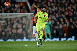 MANCHESTER, ENGLAND - Thursday, April 11, 2019: Luis Alberto Suarez Diaz (R) and Manchester United's Chris Smalling during the UEFA Champions League Quarter-Final 1st Leg match between Manchester United FC and FC Barcelona at Old Trafford. Barcelona won 1-0. (Pic by David Rawcliffe/Propaganda)