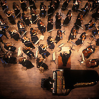 An overhead view of the Fairfax Symphony Orchestra in undated performance.