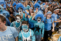 CHAPEL HILL, NC - MARCH 05: Fans of the North Carolina Tar Heels cheer during a game against the Duke Blue Devils on March 05, 2011 at the Dean E. Smith Center in Chapel Hill, North Carolina. North Carolina won 67-81. (Photo by Peyton Williams/UNC/Getty Images)