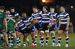 Sam Burgess of Bath Rugby (far right) in action during his first ever game as a rugby union forward - Photo mandatory by-line: Patrick Khachfe/JMP - Mobile: 07966 386802 22/12/2014 - SPORT - RUGBY UNION - Bath - Recreation Ground - Bath United v London Irish A - Aviva A-League