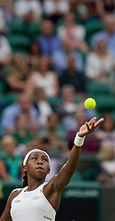 LONDON, ENGLAND - Wednesday, July 3, 2019: 15-year-old Cori Gauff (USA) during the Ladies' Singles second round match on Day Three of The Championships Wimbledon 2019 at the All England Lawn Tennis and Croquet Club. (Pic by Kirsten Holst/Propaganda)