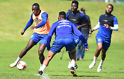 Cape Town-180823- Cape Town City players Nana Bempah challenged by Taariq fielies  at training, preparing for their up comingMTN 8 semi-final against Sundowns at Cape Town Stadum.Photographer :Phando Jikelo/African News Agency/ANA