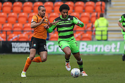 Forest Green Rovers Reuben Reid(26) is challenged by Barnet's Curtis Weston(8) during the EFL Sky Bet League 2 match between Barnet and Forest Green Rovers at The Hive Stadium, London, England on 7 April 2018. Picture by Shane Healey.