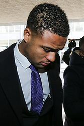 © Licensed to London News Pictures . 28/02/2013 . Manchester , UK . Manchester City footballer , COURTNEY MEPPEN-WALTER , arrives at Manchester Crown Court for sentencing this morning (28th February 2013) after admitting causing death by careless driving following the deaths of brother and sister Kulwant Singh and Ravel Kaur after a road accident in Manchester on the evening of September 1st 2012 . Photo credit : Joel Goodman/LNP