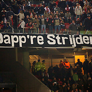 NLD/Amsterdam/20051122 - Voetbal, Champions League, Ajax - Sparta Praag, Ajax spandoek Dapp're Strijders