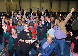 © Licensed to London News Pictures.  09/06/2017; Bristol, UK. General Election 2017; KERRY MCCARTHY celebrates with Labour supporters as she wins Bristol East for Labour at City of Bristol Academy, beating Tory candidate Theo Clarke. Picture credit : Simon Chapman/LNP