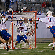April 01,  2012:  Duke attack Josh Dionne (8) takes a behind the back shot against Syracuse during the Big City Classic at  Met Life Stadium in East Rutherford, New Jersey . Duke defeated Syracuse 12-10. (Credit Image: © Kostas Lymperopoulos/Cal Sport Media)