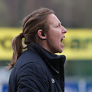 21120413 - IEPER, BELGIUM : England's Head coach Lois Fidler  is pictured here  during the Second qualifying round of U17 Women Championship between England and Iceland on Friday April 13th, 2012 in Ieper, Belgium.