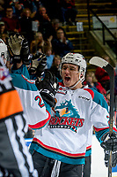 KELOWNA, CANADA - MARCH 11: Calvin Thurkauf #27 of the Kelowna Rockets high fives after a first period goal against the Victoria Royals on March 11, 2017 at Prospera Place in Kelowna, British Columbia, Canada.  (Photo by Marissa Baecker/Shoot the Breeze)  *** Local Caption ***