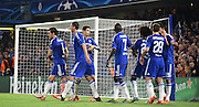 Chelsea celebrate their opener during the Champions League group stage match between Chelsea and Dynamo Kiev at Stamford Bridge, London, England on 4 November 2015. Photo by Michael Hulf.