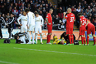 Swansea city's Nathan Dyer (l) and Liverpool keeper Pepe Reina ® both receive treatment after they collide. Barclays Premier league, Swansea city v Liverpool at the Liberty Stadium in Swansea , South Wales on Sunday 25th November 2012. pic by Andrew Orchard, Andrew Orchard sports photography,
