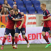 Harrison Shipp, (centre), Chicago Fire, celebrates after  scoring the first of his hat trick during the New York Red Bulls Vs Chicago Fire, Major League Soccer regular season match won 5-4 by the Chicago Fire at Red Bull Arena, Harrison, New Jersey. USA. 10th May 2014. Photo Tim Clayton